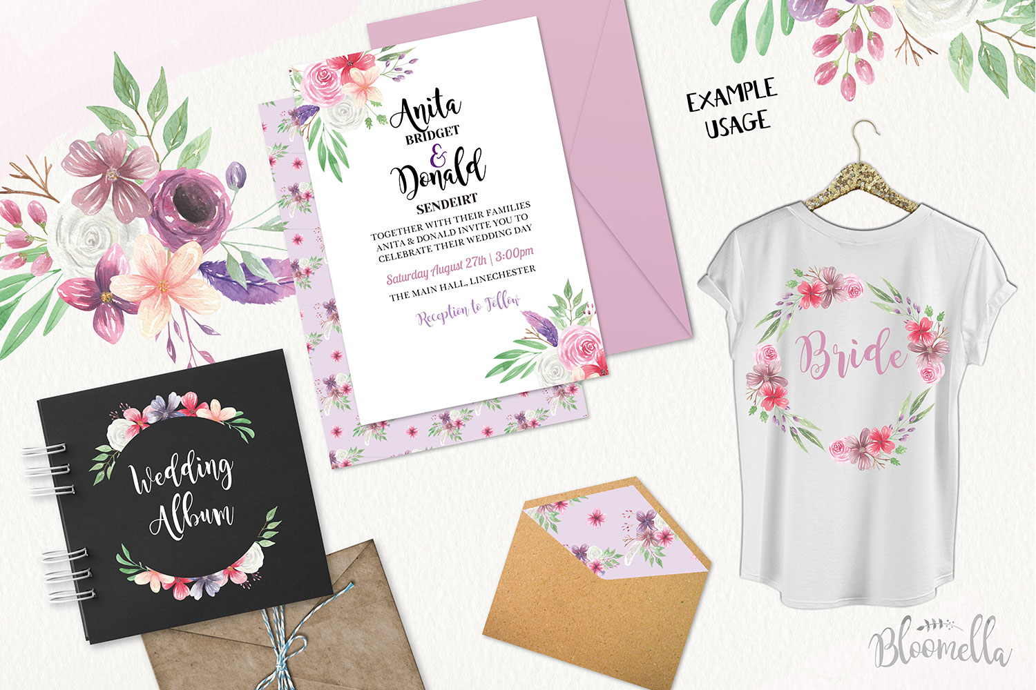 Bohemian Floral Watercolor HUGE Package Wedding Clipart example image 3