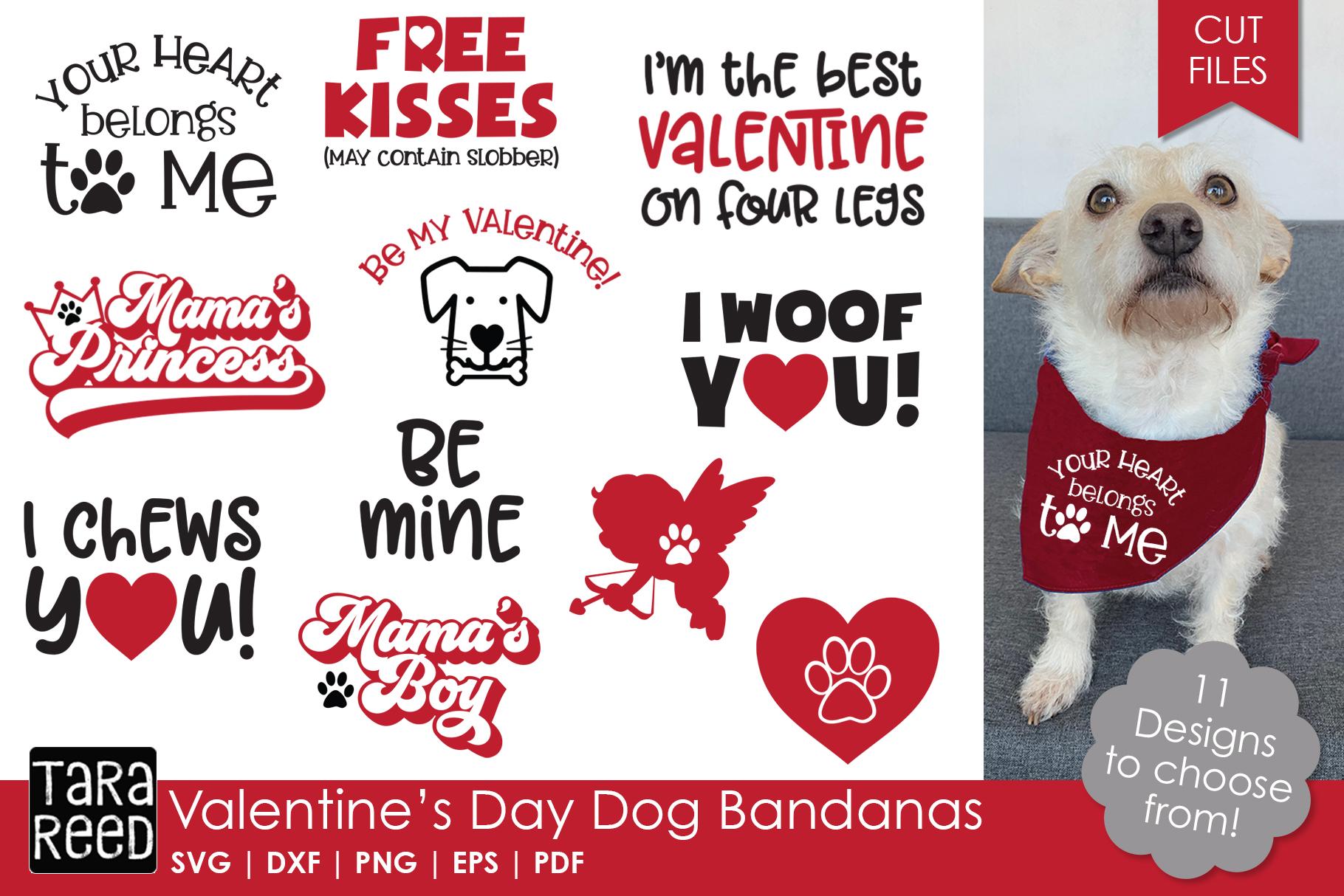Valentines Day Dog Bandanas - Dog SVG and Cut Files example image 1