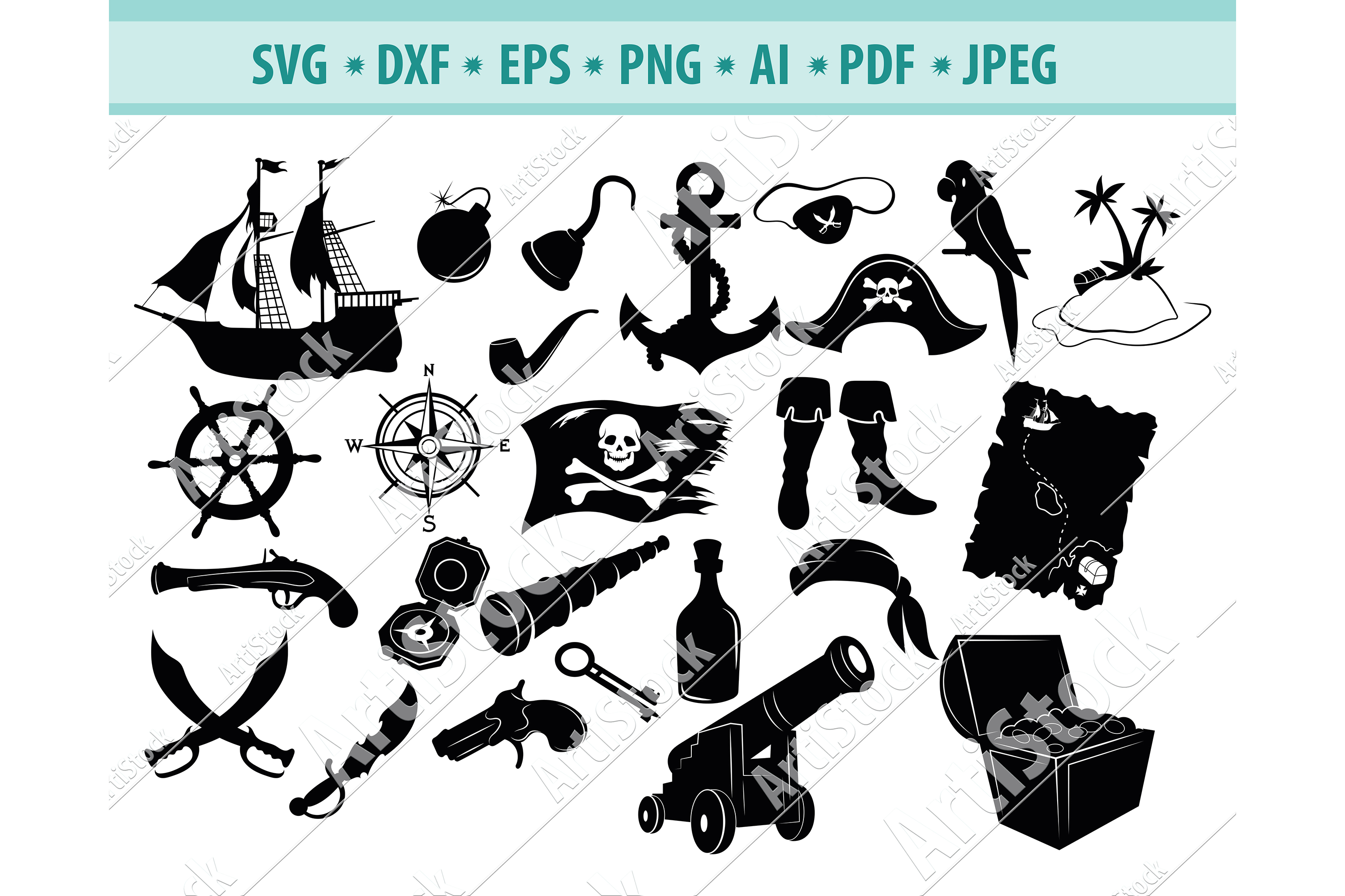 Pirate SVG, Pirate Silhouette Png, Pirate Clipart, Dxf, Eps example image 1