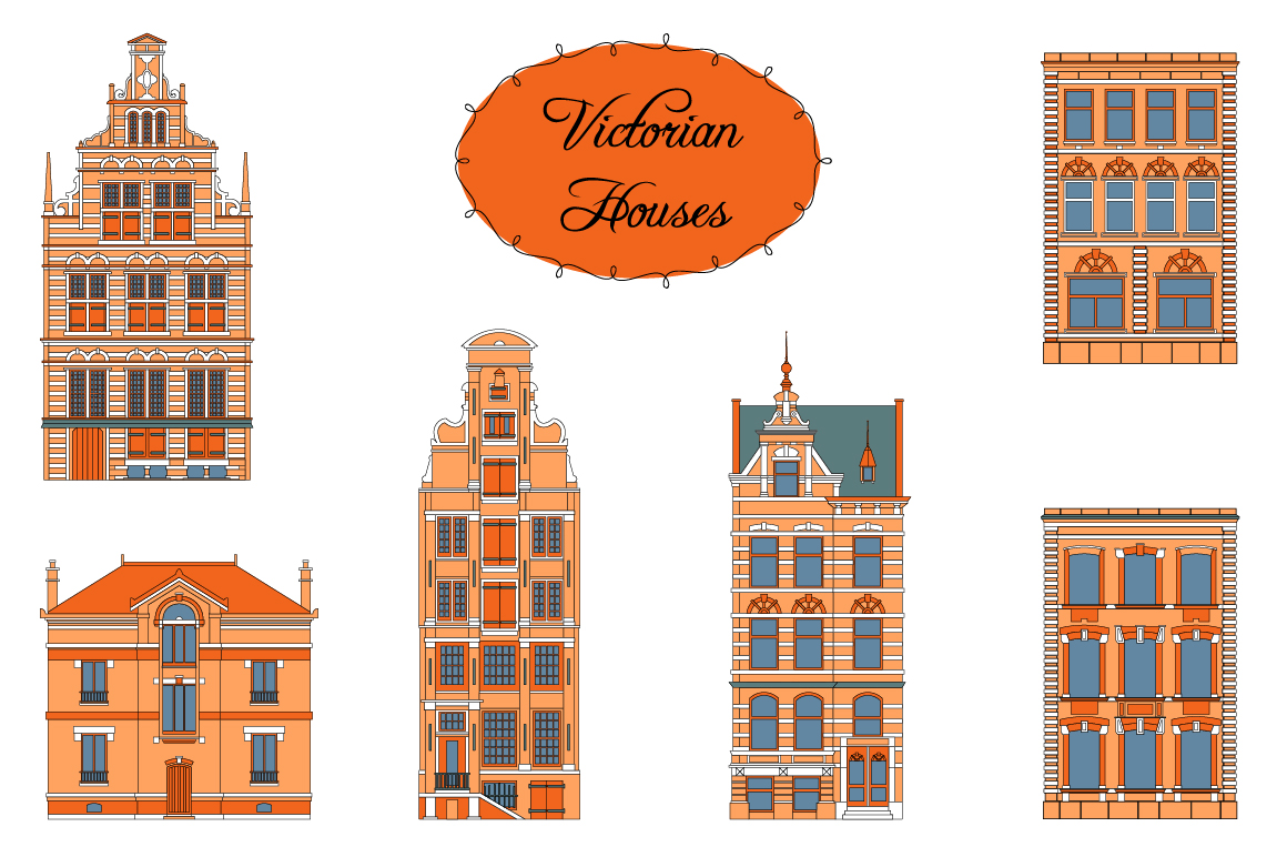 Victorian Houses. Objects and patterns example image 2