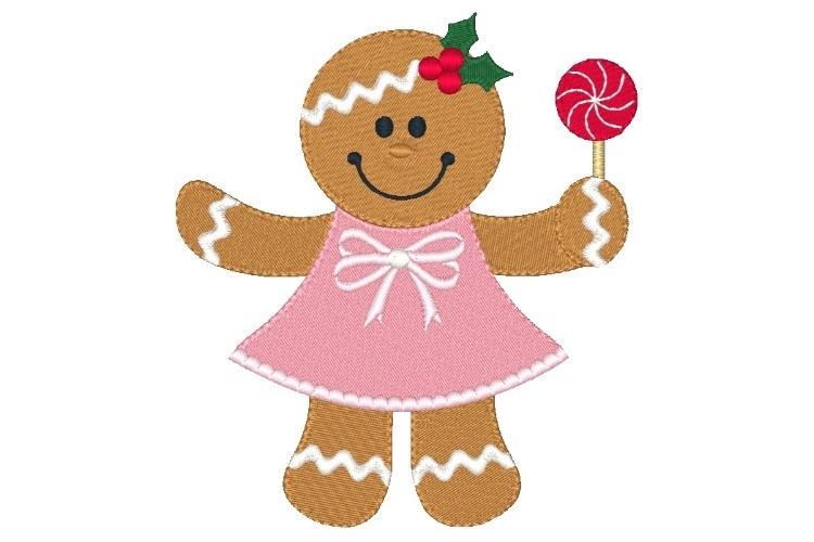 Ginger Girl Embroidery Design Set of 2 Christmas Designs example image 3