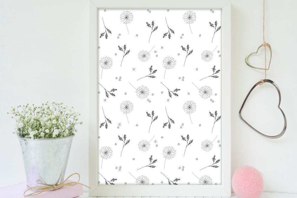 Doodle Floral Pattern, A1, SVG example image 5