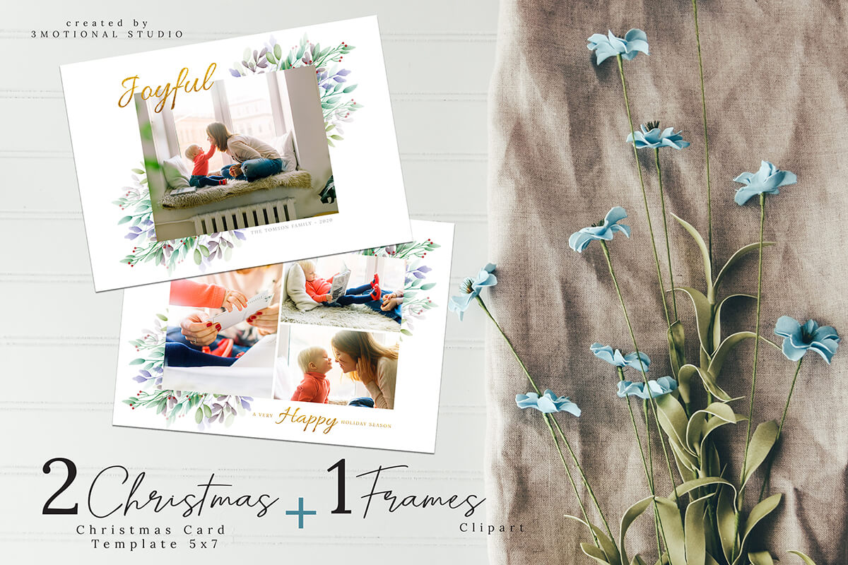 Christmas Postcard Editable Template 5x7 example image 1