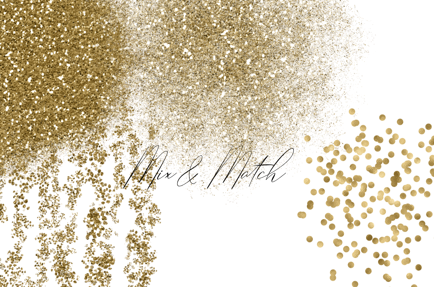 Gold Glitter Backgrounds, Gold Design PNG Elements example image 4