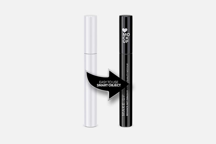 Cosmetics Mockup - Lipstick / Mascara / Eyeliner - Glossy example image 3
