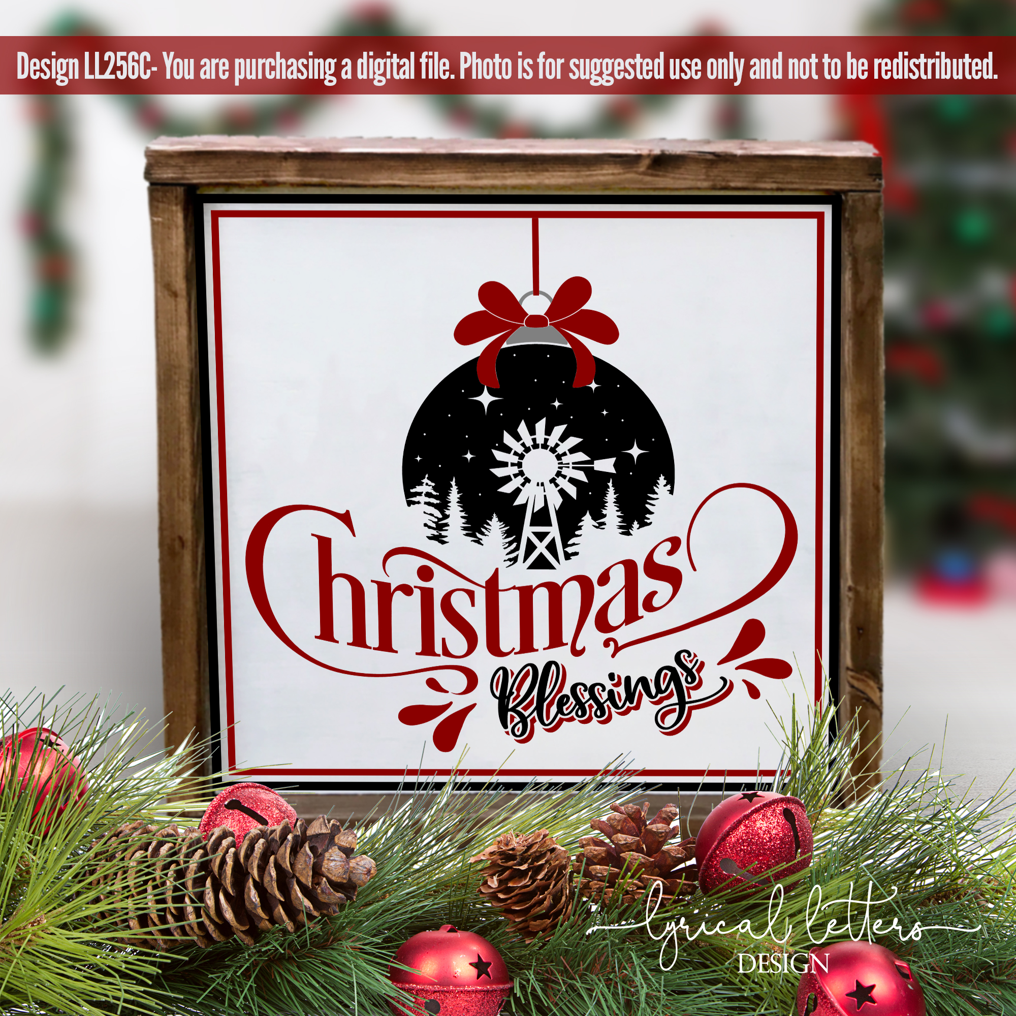 Farmhouse Christmas Blessings with Windmill SVG LL256C example image 2