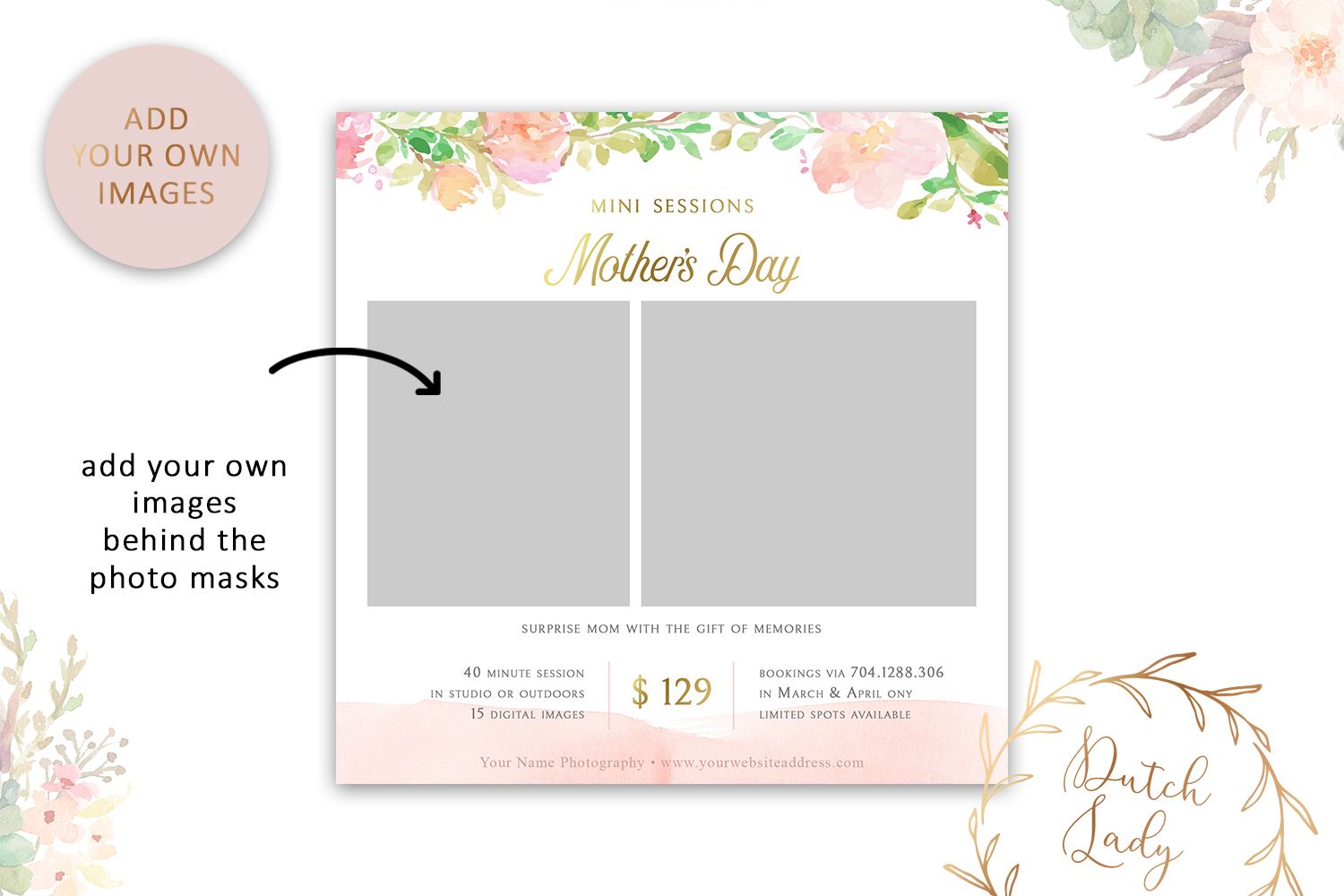 PSD Photo Mother's Day Mini Session Card Template - #41 example image 2
