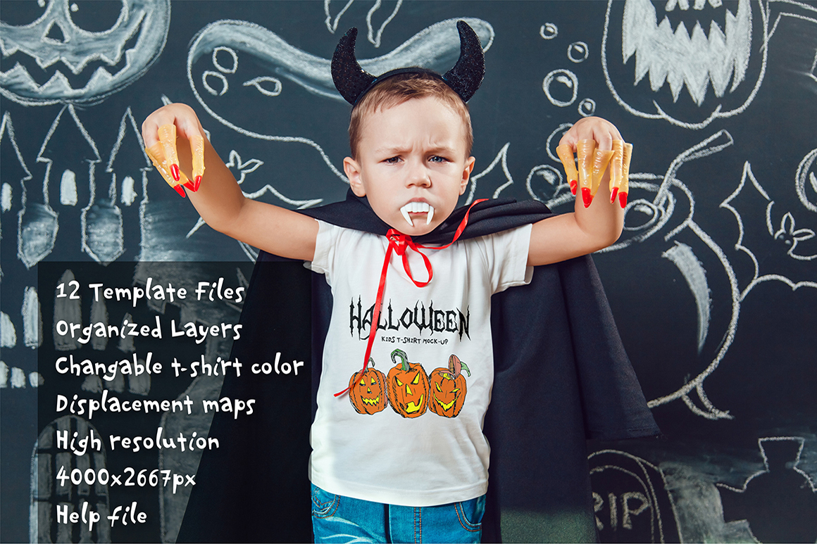 Halloween Kids T-Shirt Mock-Up example image 12