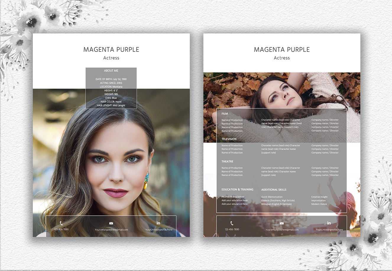 Modern Resume Template | Actor/Actress example image 5