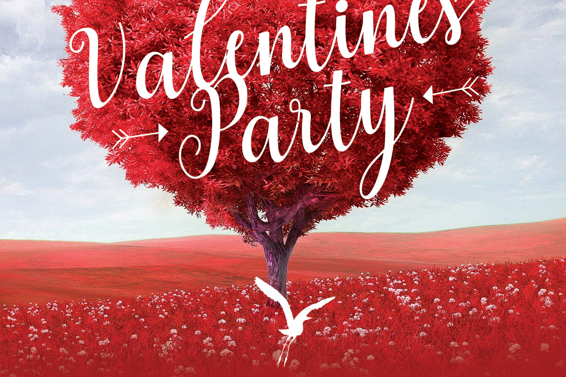 Tree Heart Valentines Party Flyer Template example image 6