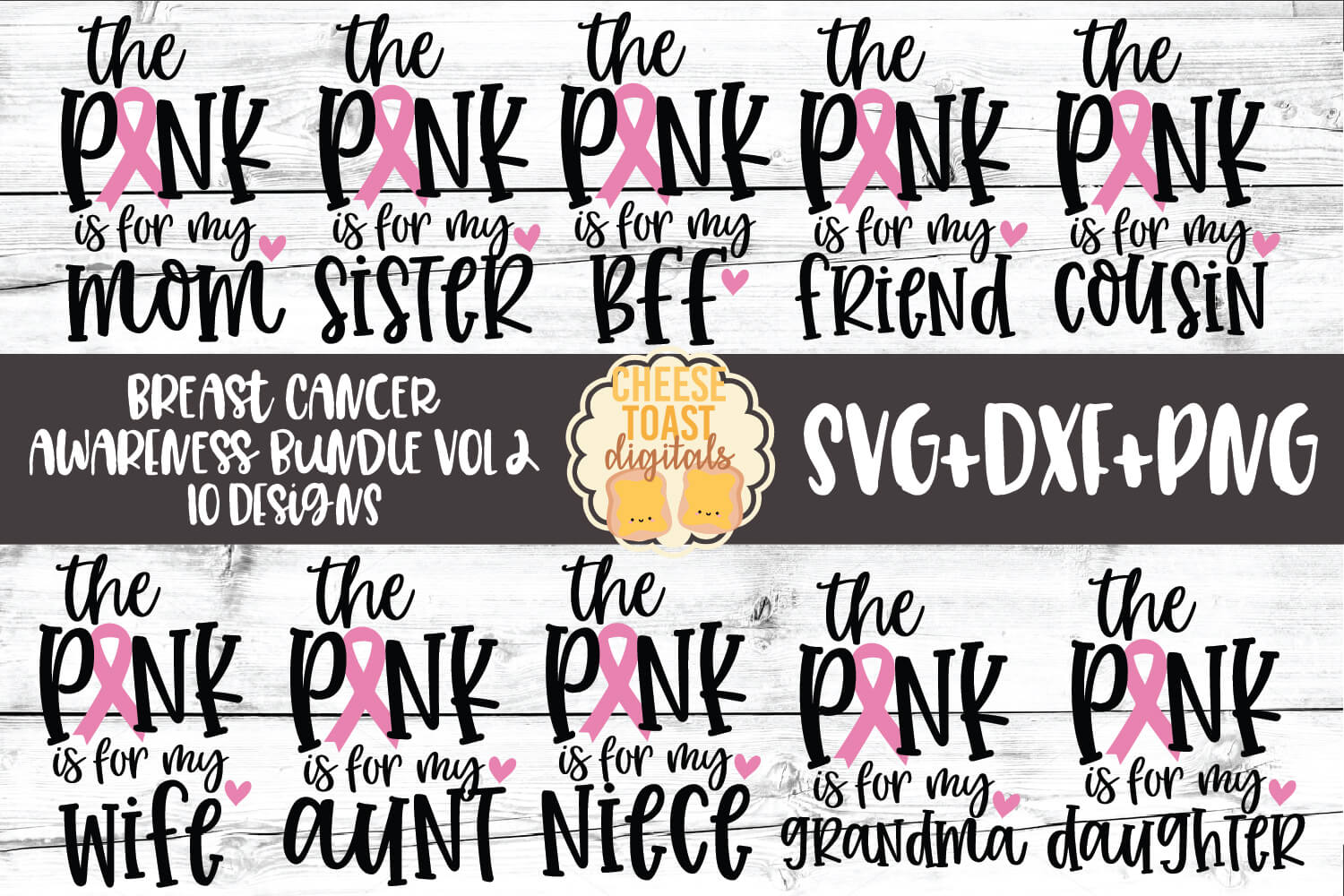 Breast Cancer Awareness Bundle Vol 2 - SVG PNG DXF Cut Files example image 1