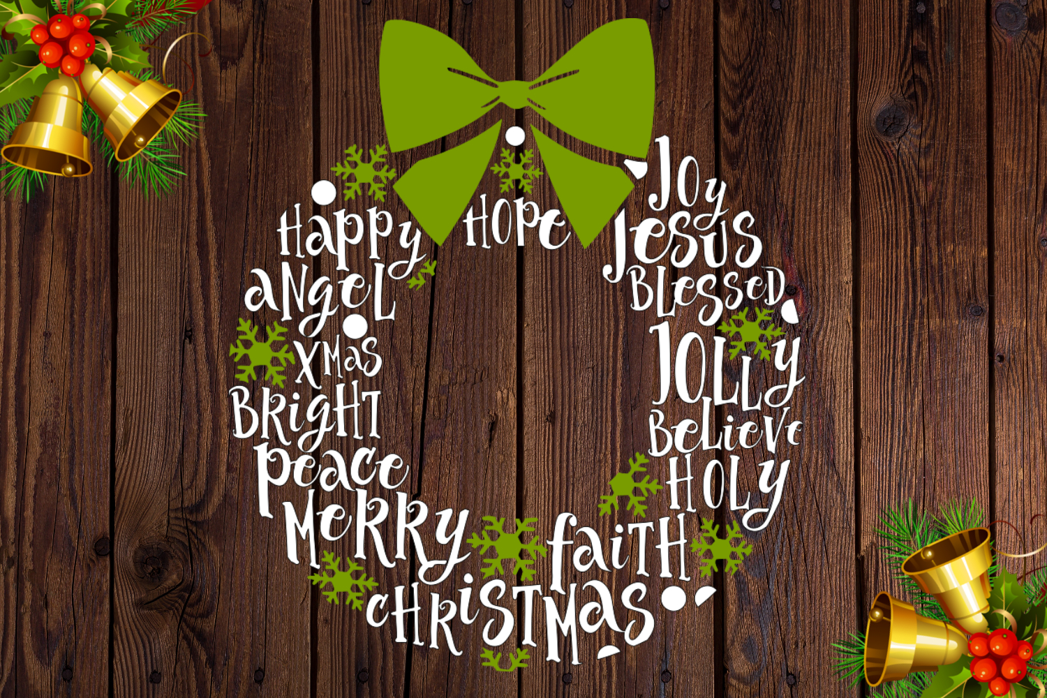 Christmas wreath, SVG file example image 1
