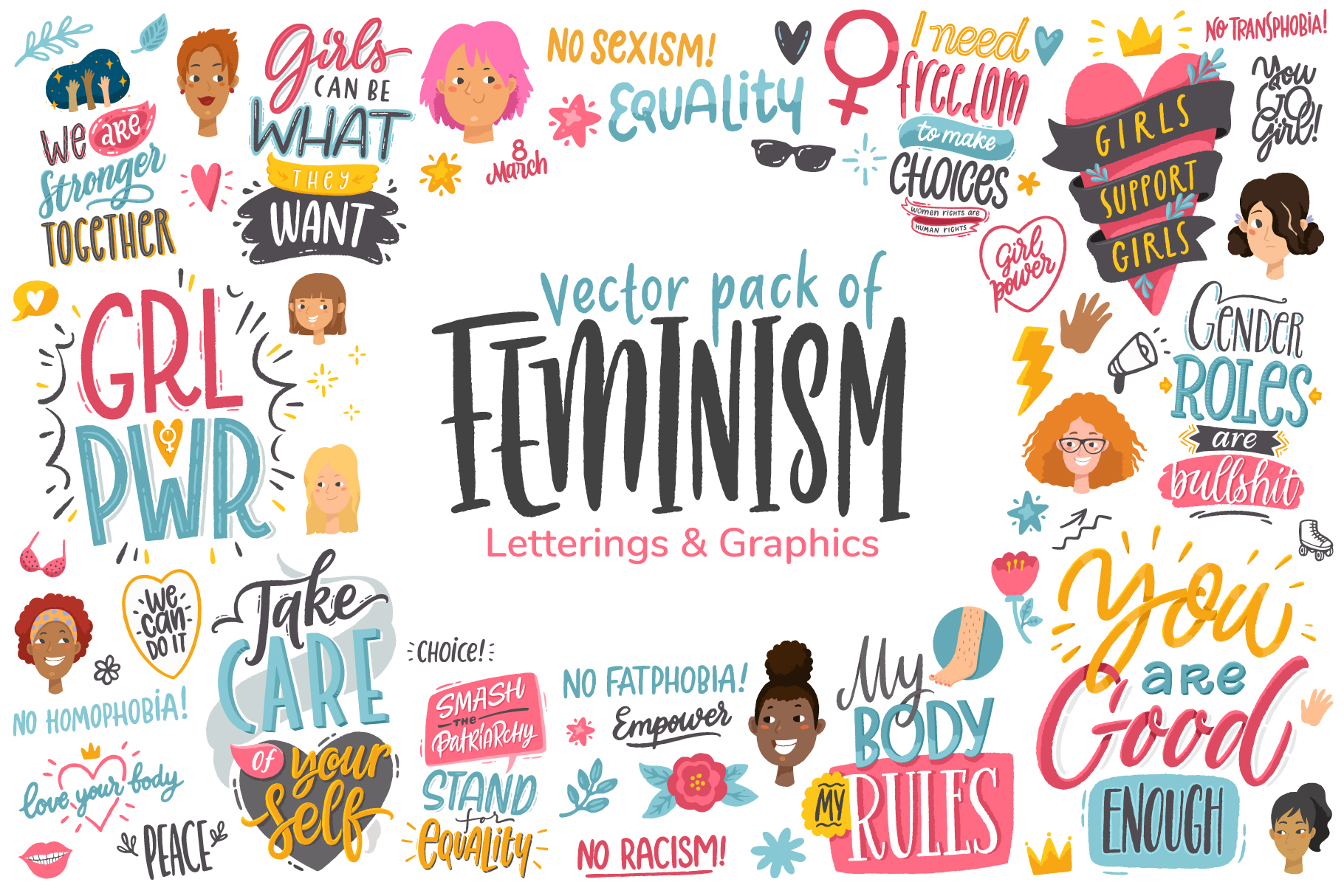 Feminism, vector letterings and graphics example image 1