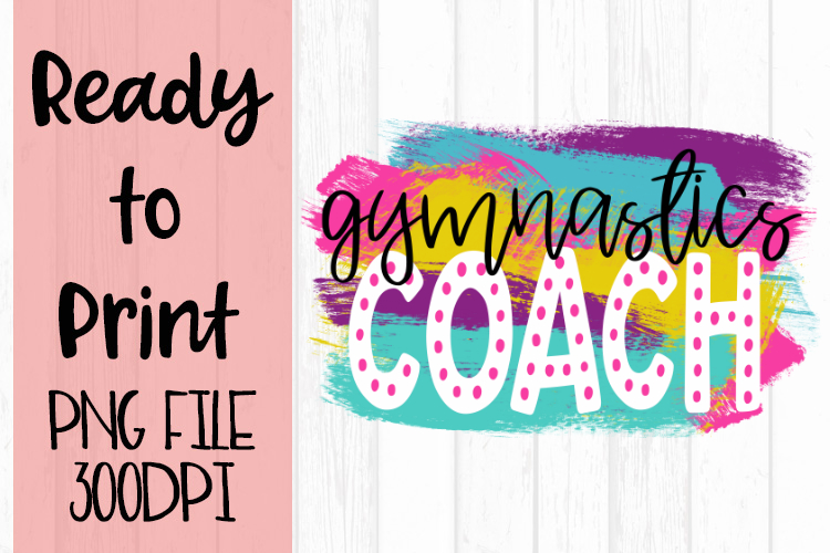 Gymnastics Coach Bright Preppy Design Ready to Print example image 1