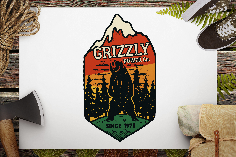 Wild Animal Retro SVG Logo / Camping Bear Badge / Patch example image 1