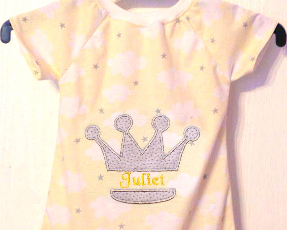 Princess Crown Split Applique Embroidery Design example image 2