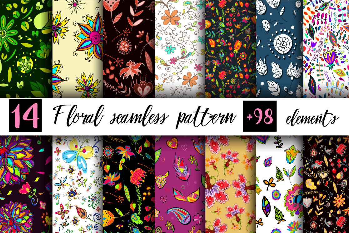Floral seamless set 1. example image 1
