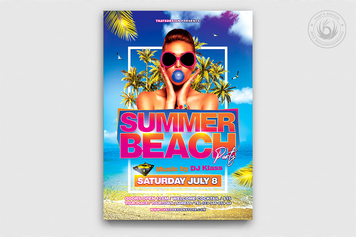 Summer Beach Flyer Template V4 example image 1
