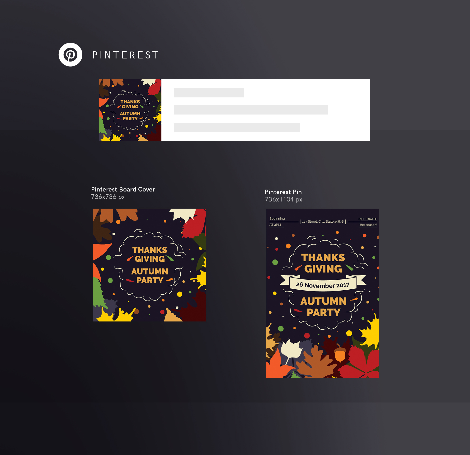 Thanksgiving Autumn Party Design Templates Bundle example image 11
