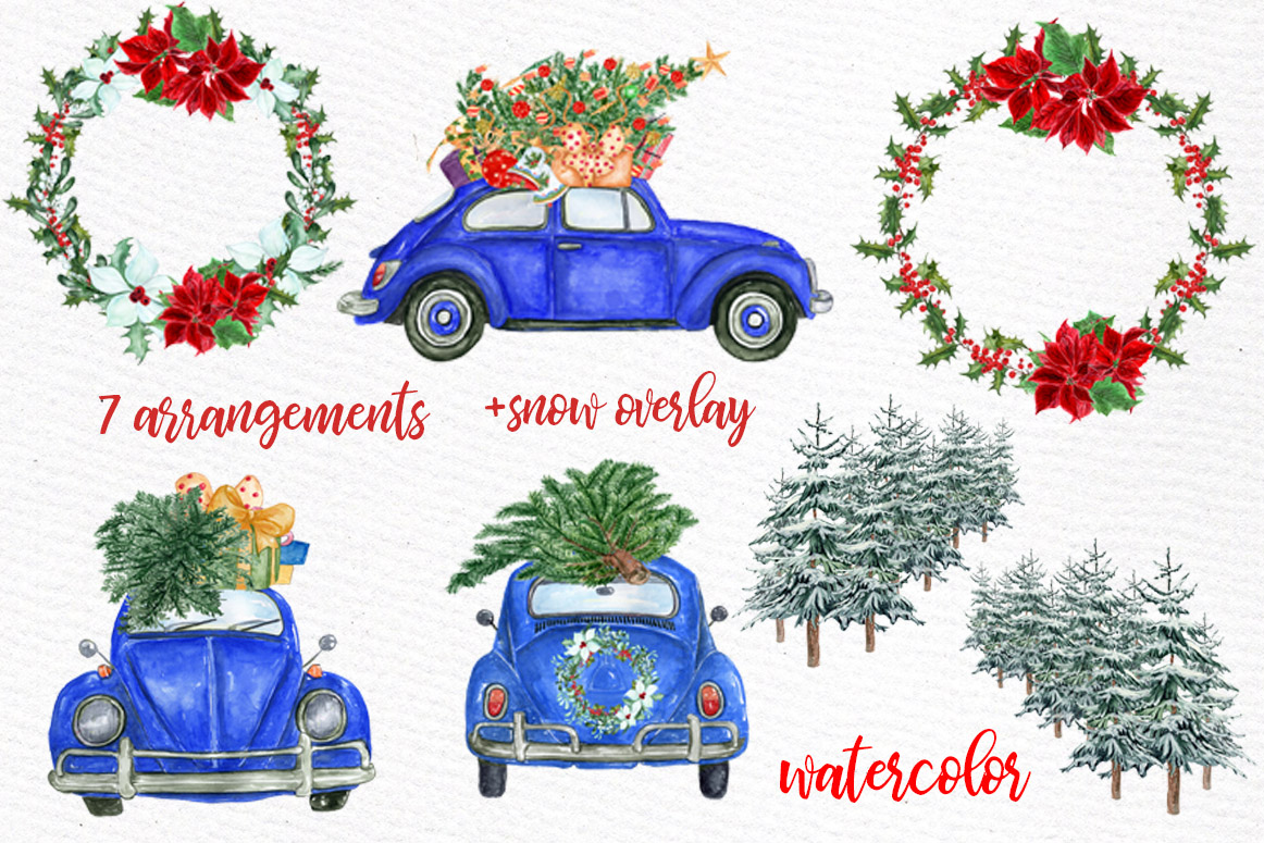 Watercolor Christmas Cars,Christmas Wreaths clipart Winter example image 2