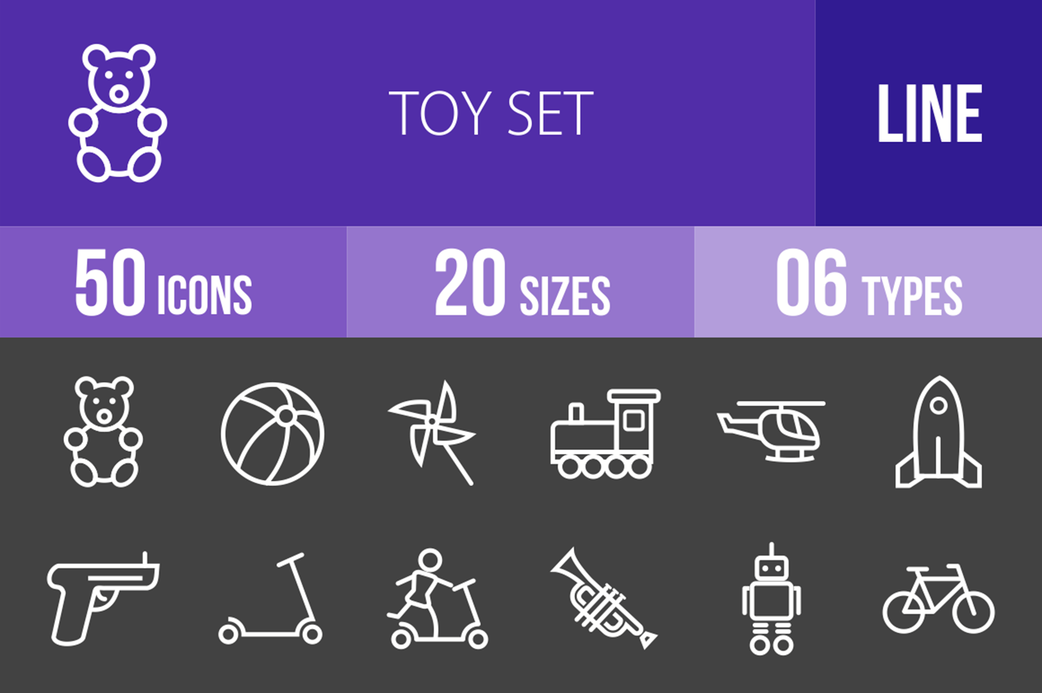 50 Toy Set Line Inverted Icons example image 1
