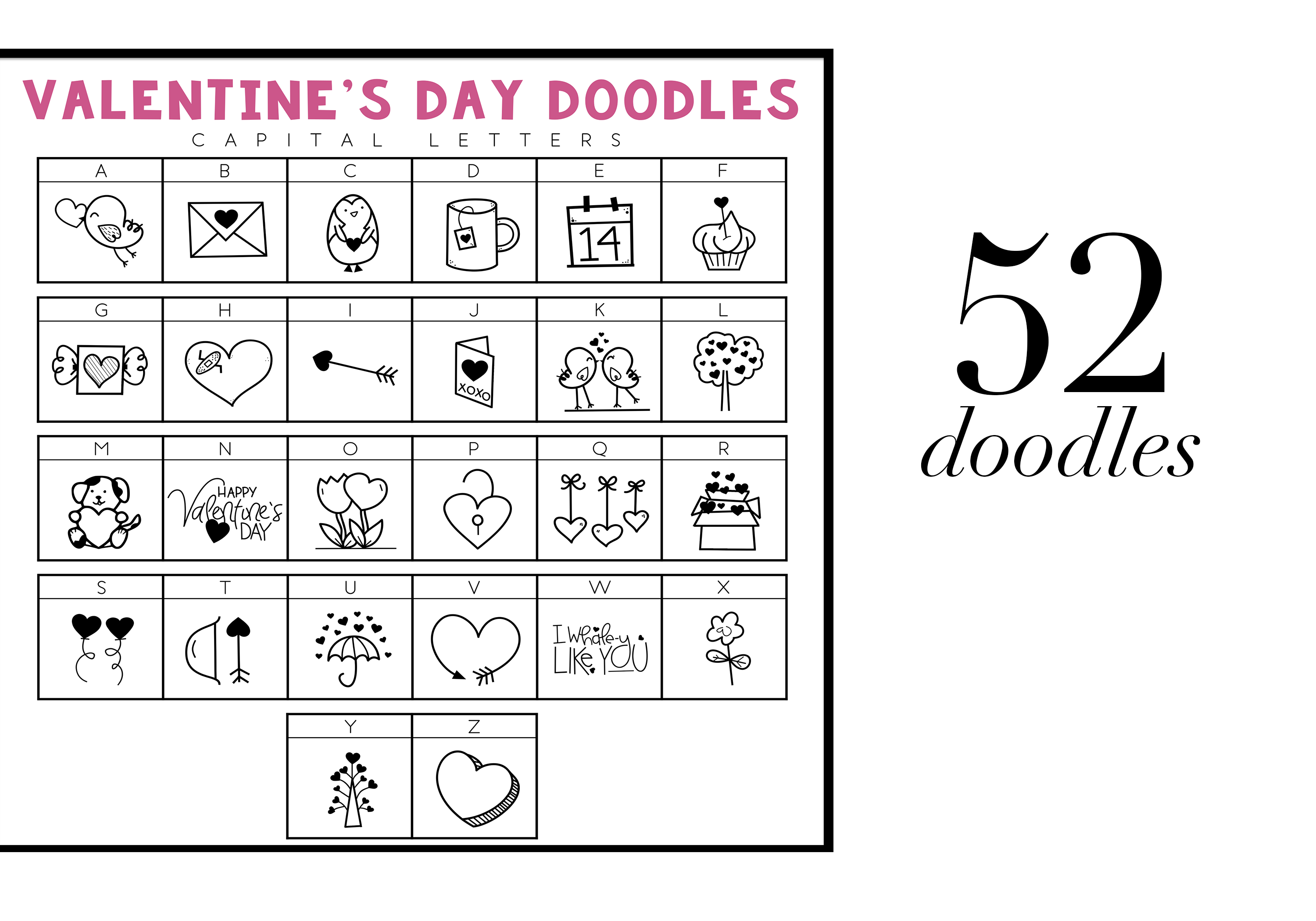 Valentine - Valentine's Day Doodle Font  example image 2