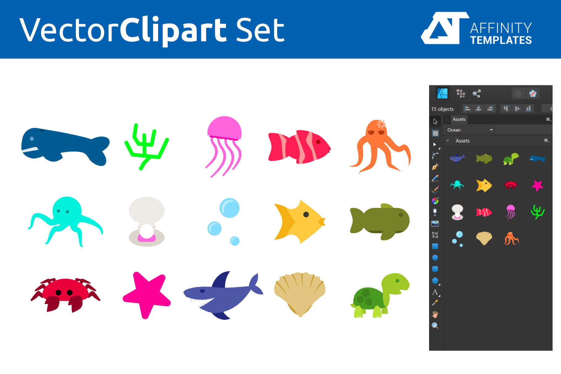 Ocean - Under the sea vector Cliparts example image 2