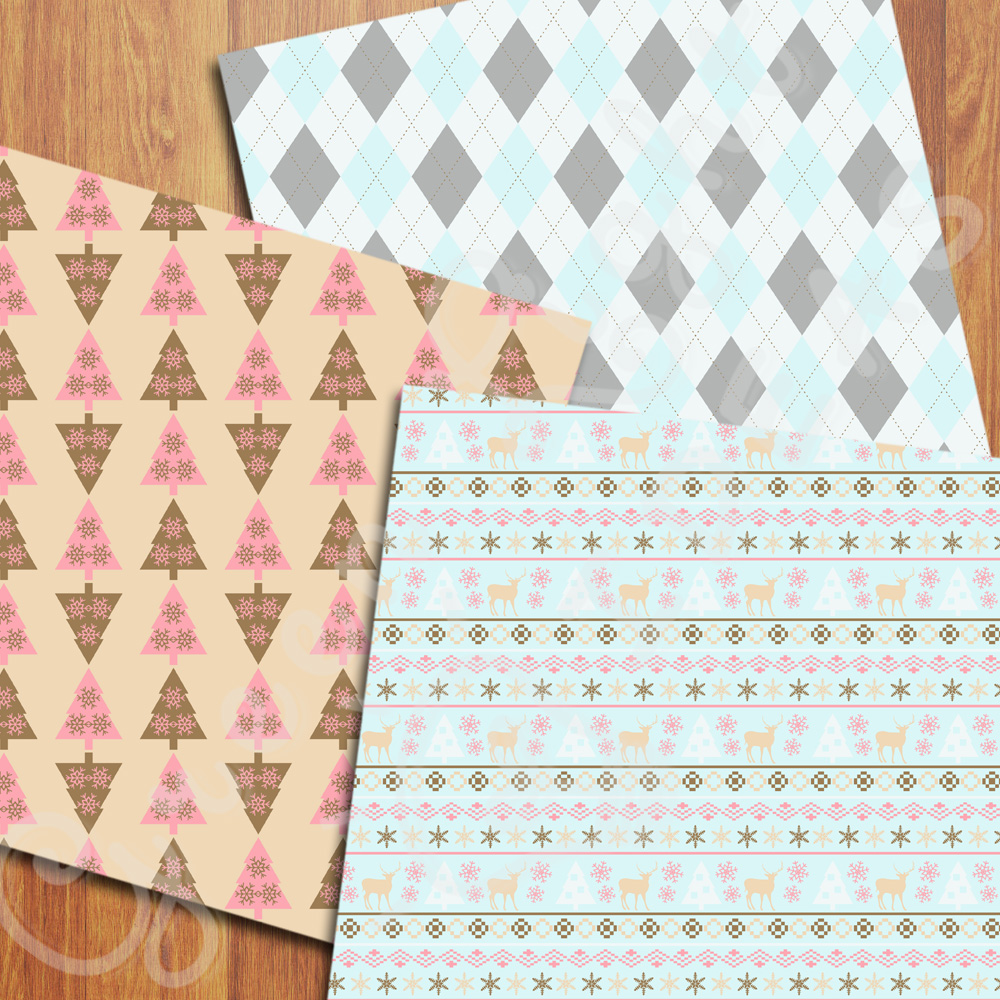 Nordic Christmas Digital Papers, Holidays Backgrounds, Scandinavian Papers example image 4