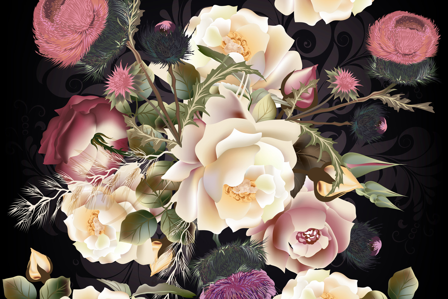 Beauitful vector vintage pattern with roses example image 3