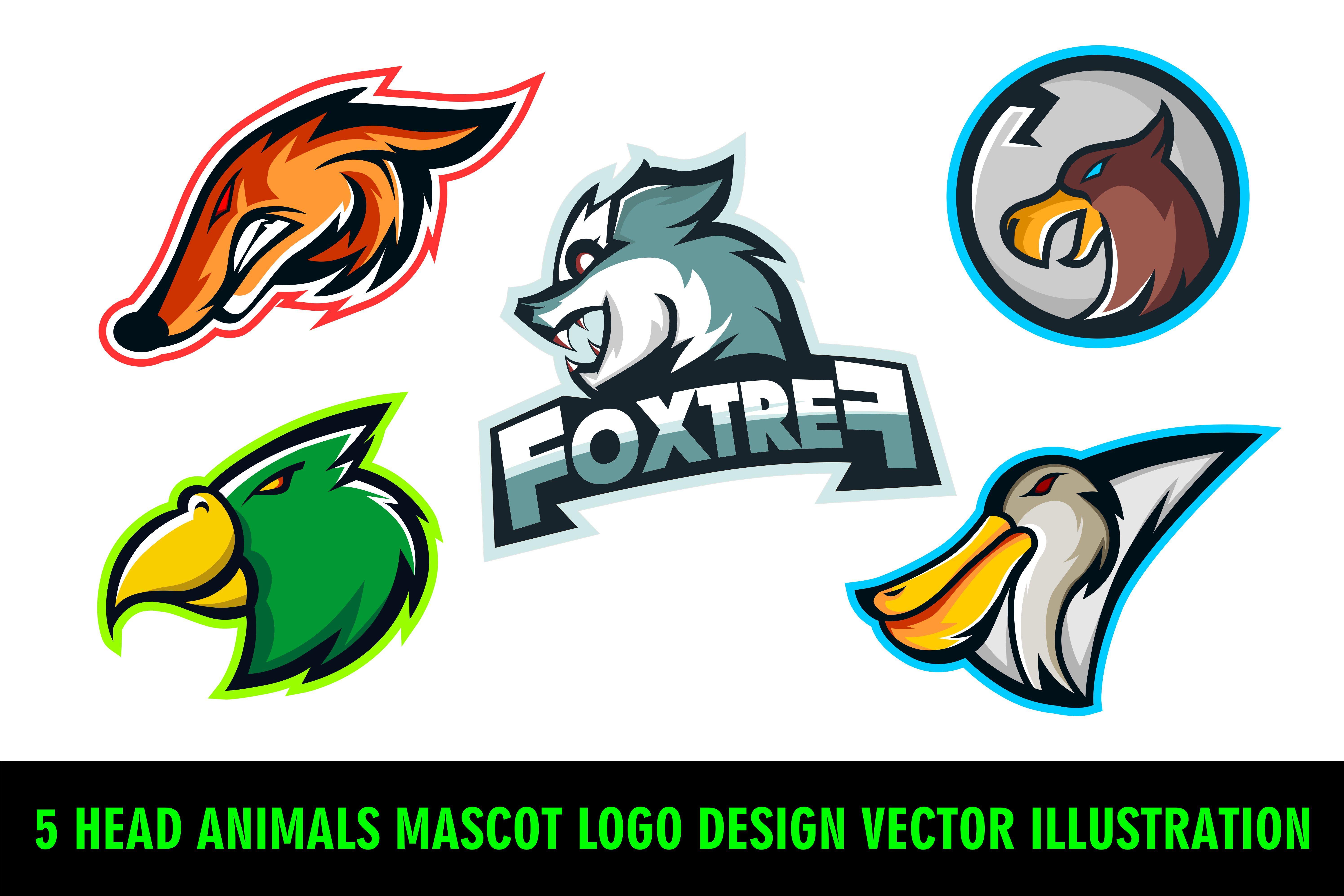 5 Head Animals Mascot Logo Design Vector Illustration ...