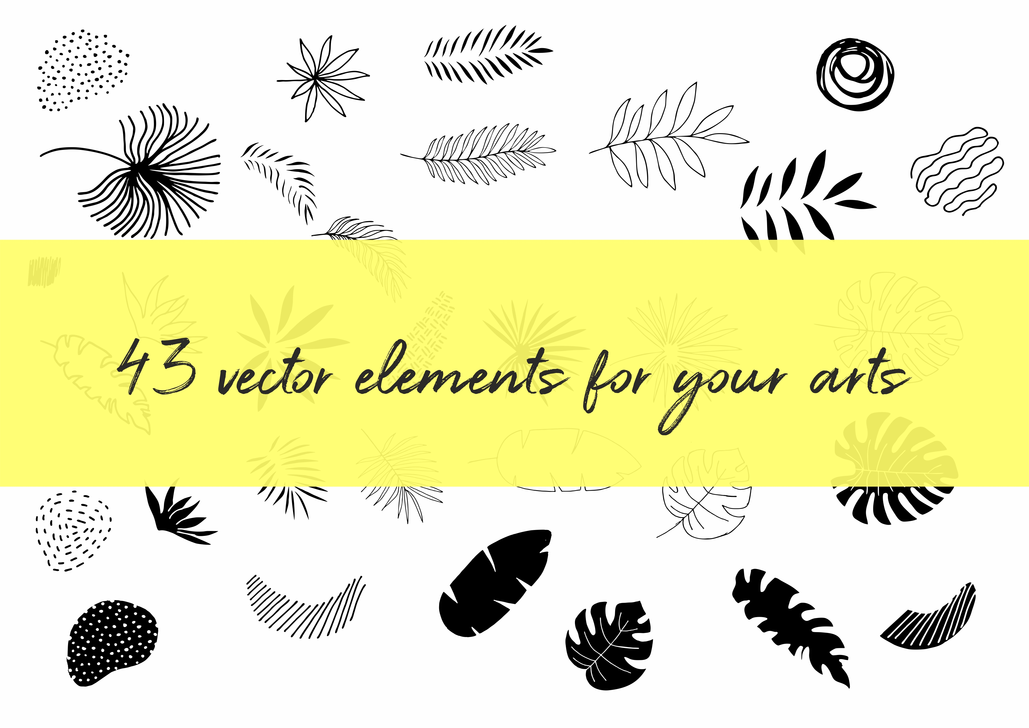 Hide in tropical leaves! Summer hand drawn patterns set example image 3