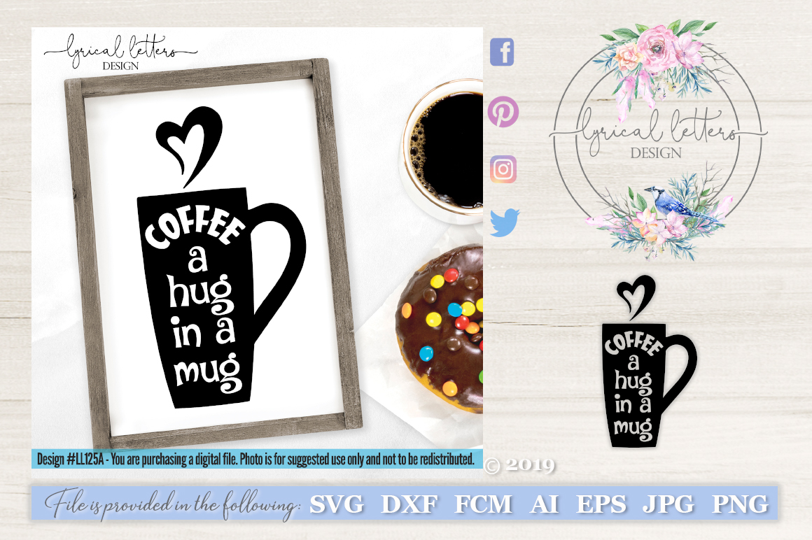 Coffee A Hug In A Mug SVG Cut File LL125A example image 1
