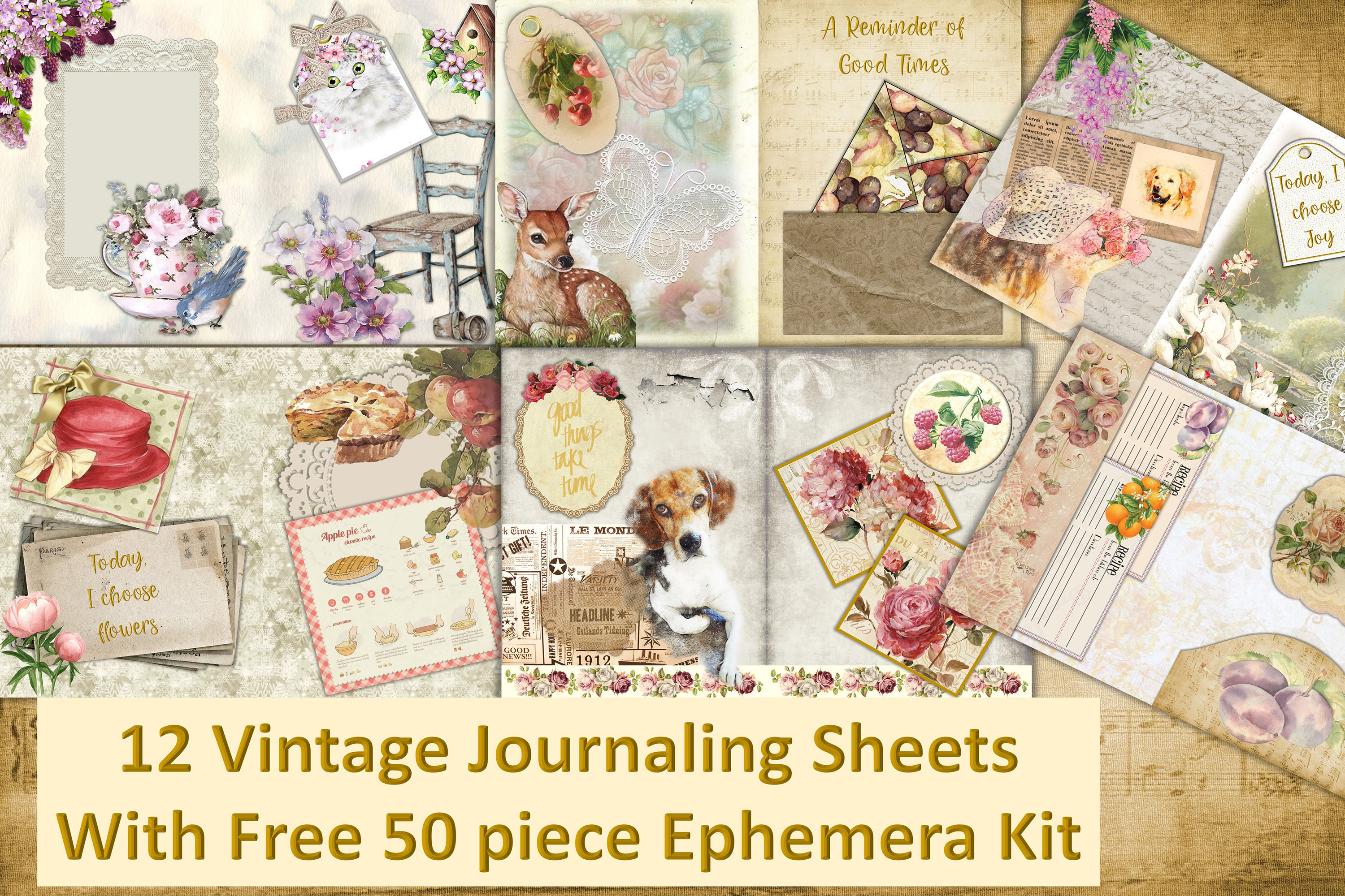12 Vintage Journal Pages with FREE ephemera. Commercial Use example image 1