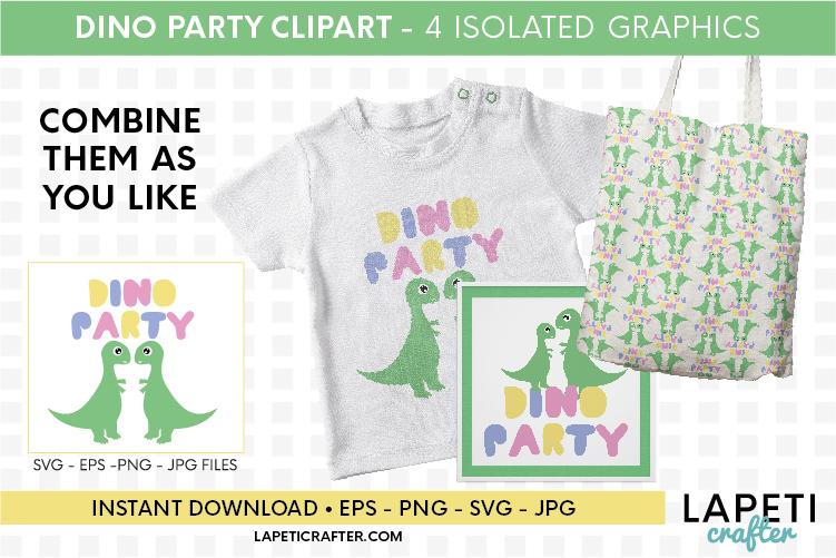 Dinosaur clipart for kids, dinosaur svg, eps, jpg, png files example image 2