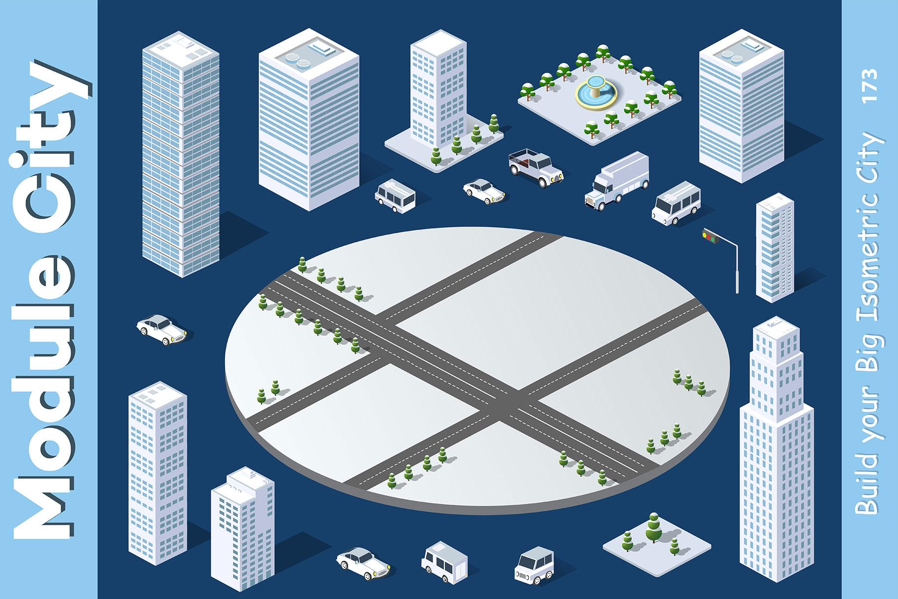 Isometric set module city example image 6