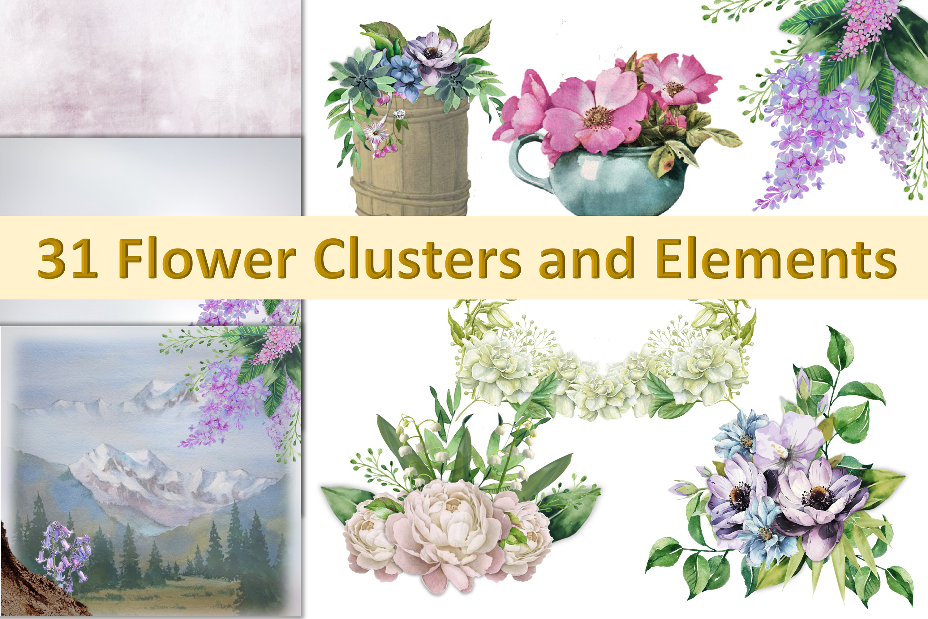 Water colour clipart bundle 120 pieces Commercial Use example image 2