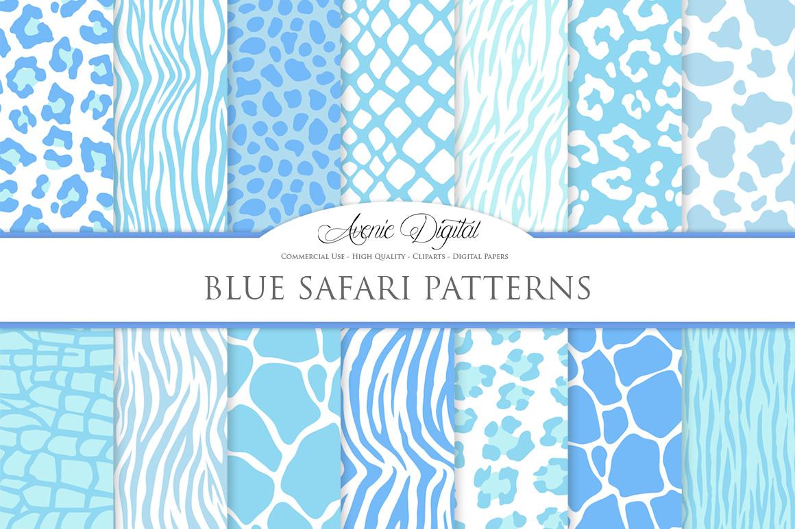 Blue Animal Print Vector Patterns -  Baby Blue Safari Seamless Digital Papers example image 1