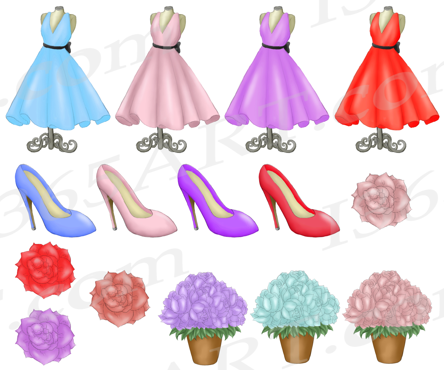 Springtime in Paris Clipart Girls & Fashion Illustrations example image 4