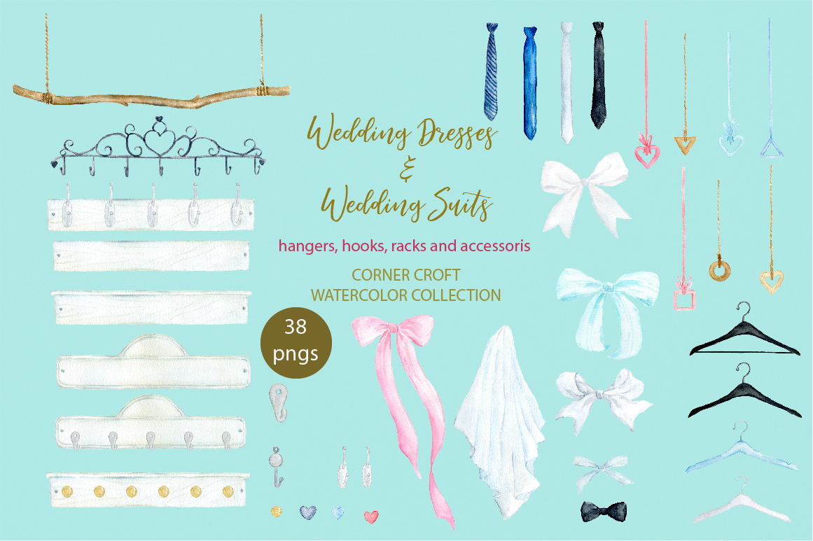 Watercolor wedding outfit on hangers and cloth hooks example image 3