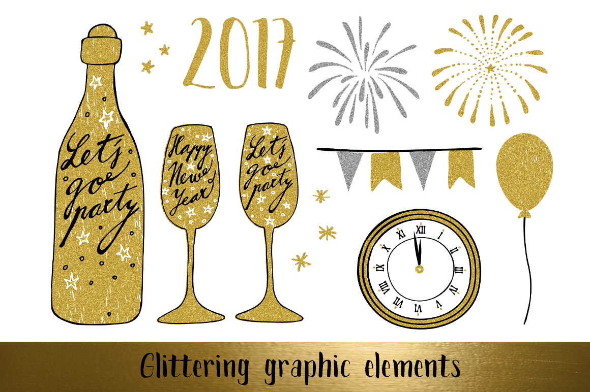 Golden Happy New Year set example image 3