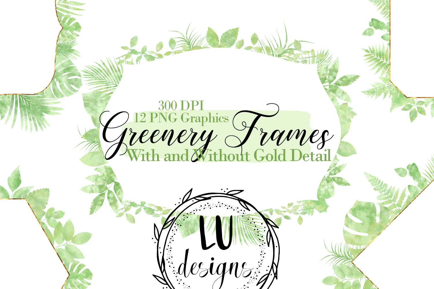 Watercolor Greenery Frames example image 1