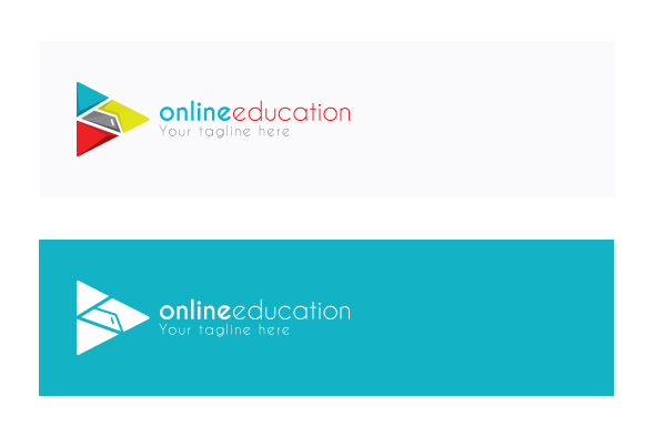 Online Education - Play Symbol Stock Logo Design Template example image 2