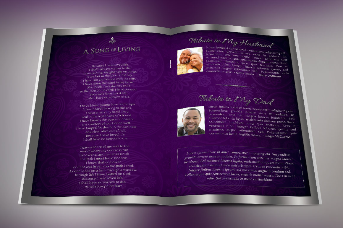 Lavender Dignity Funeral Program Template example image 4