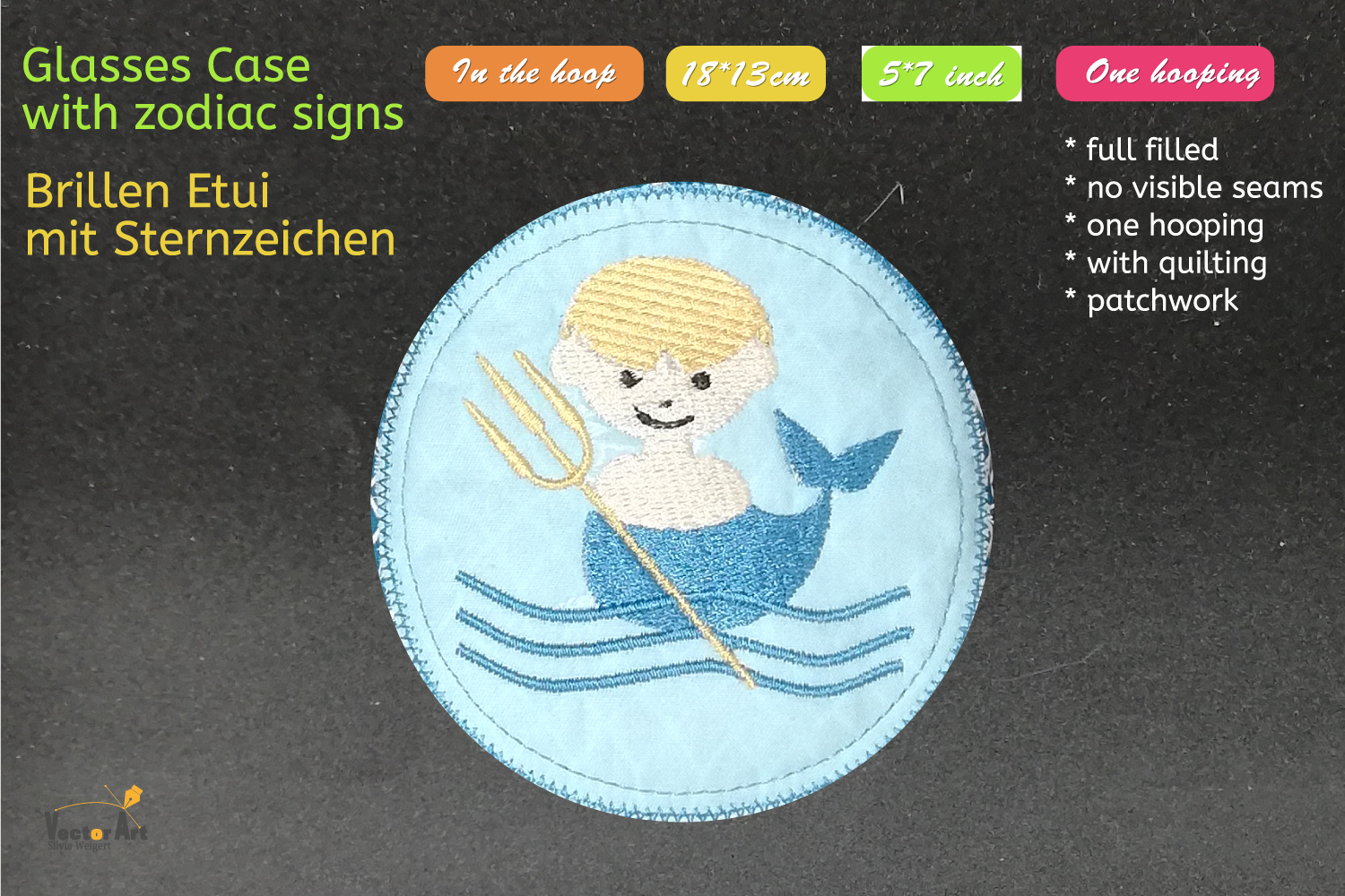 ITH - Glasses Case with Zodiac Aquarius - Embroidery file example image 4