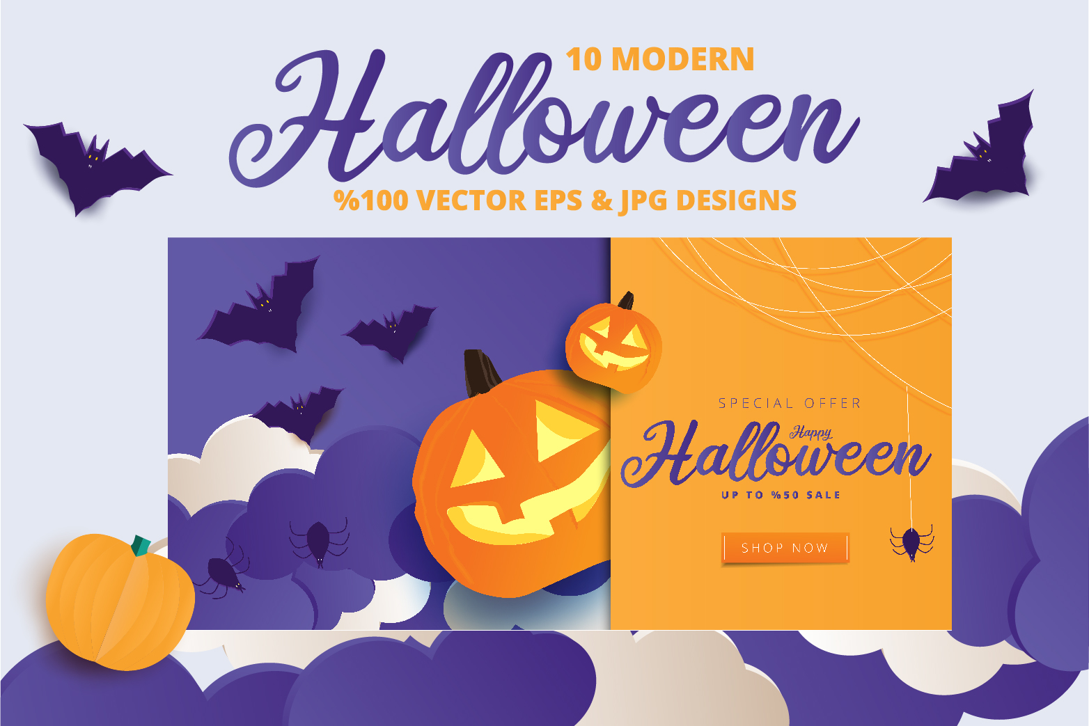 Halloween Sale header or banner design and invitation flyer example image 7