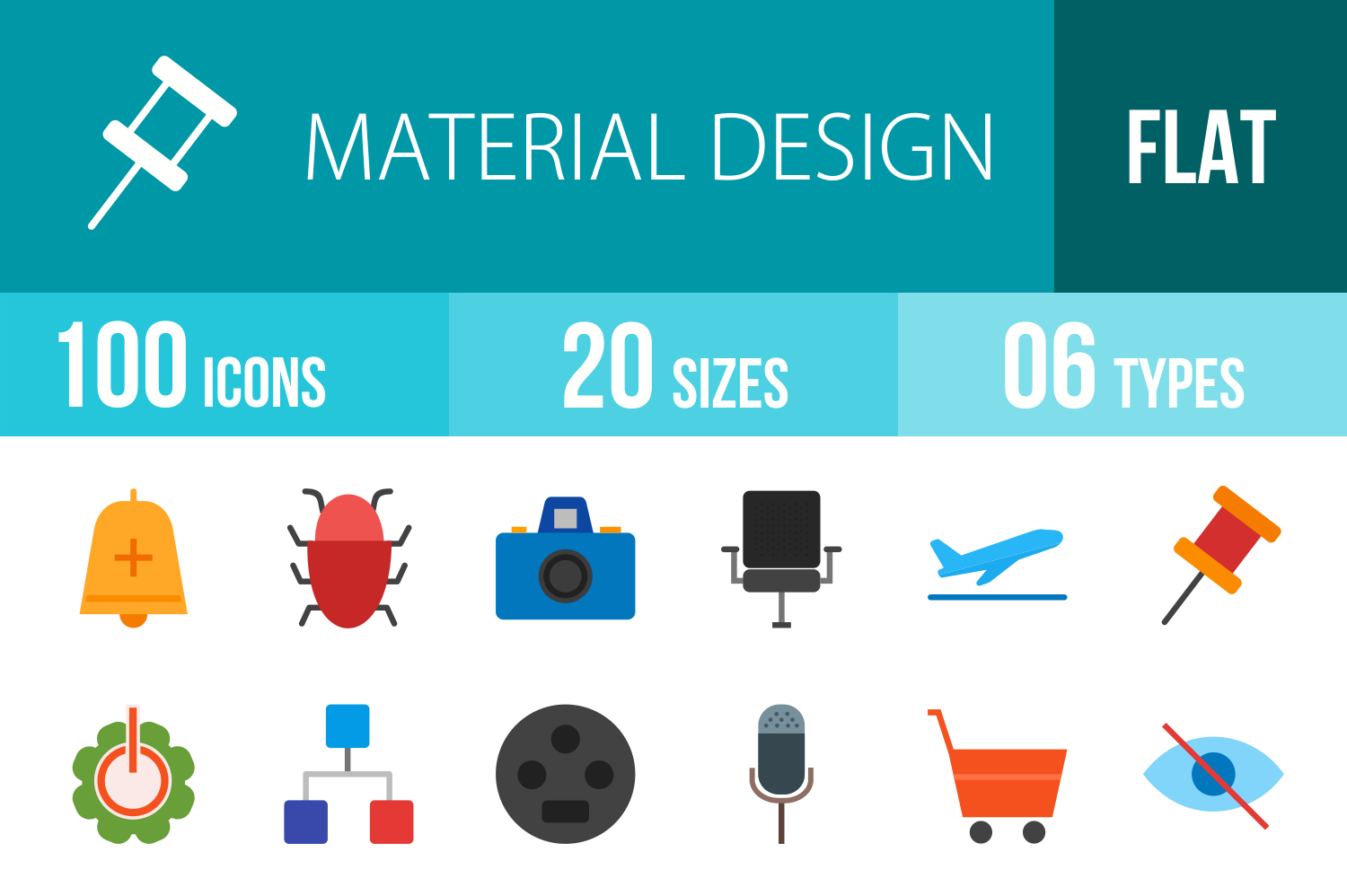 100 Material Design Flat Multicolor Icons example image 1