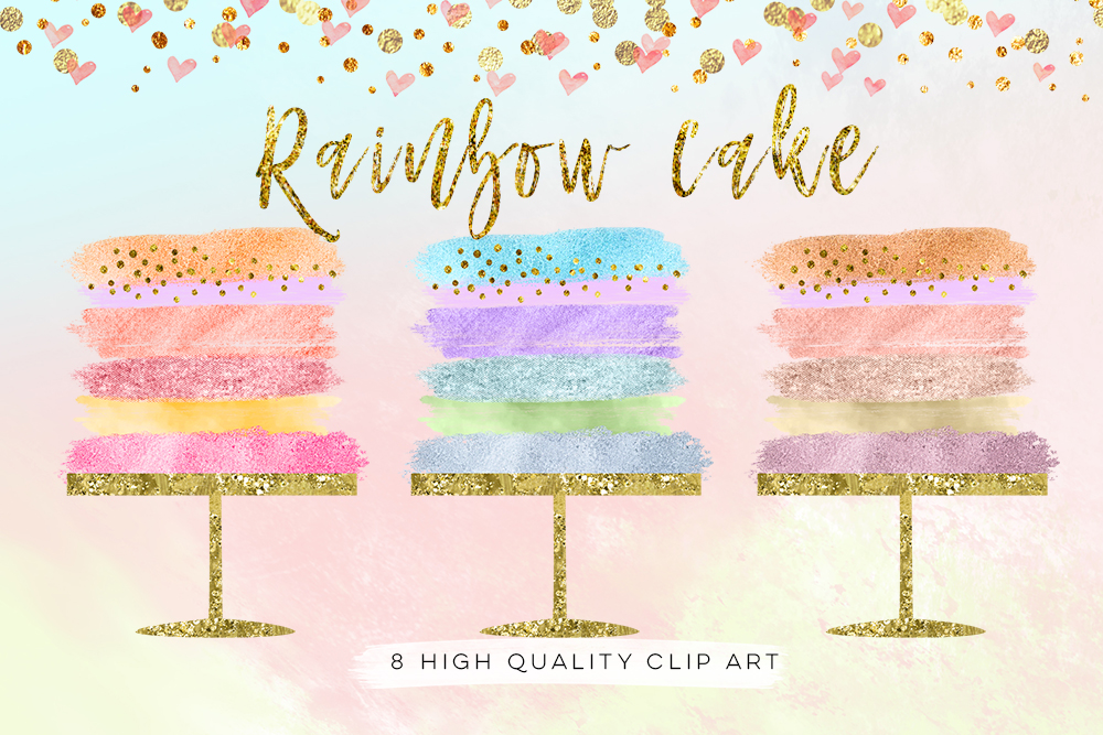 birthday cake clip art, Wedding Cake clip art set, Party rainbow cake clip art, Cake Clipart, Cake Clip Art Digital Cake Wedding brush example image 3
