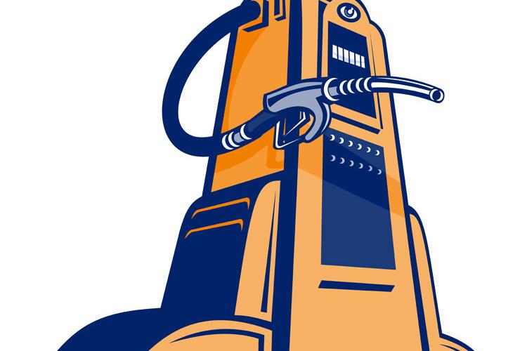 Retro Gasoline pump filling station nozzle example image 1