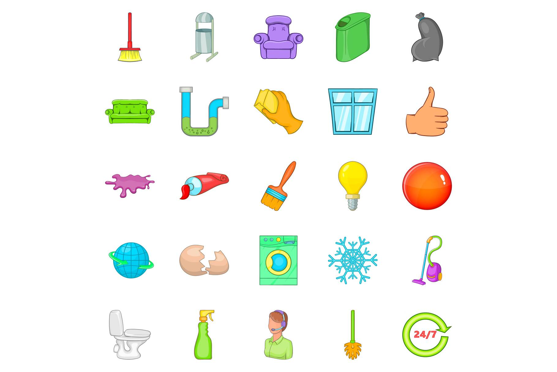 Service worker icons set, cartoon style example image 1