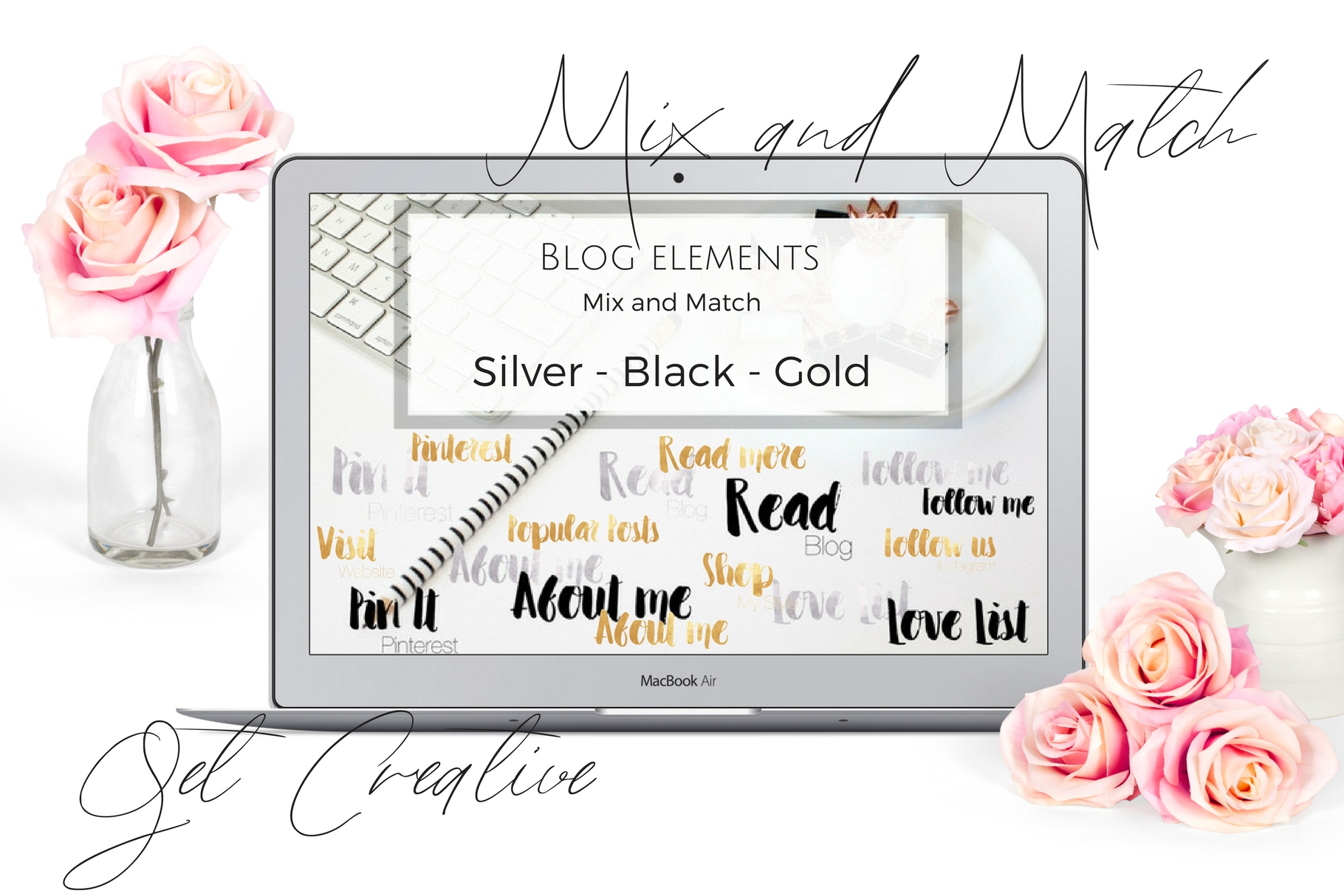 Blog elements - Black, Gold and silver example image 1